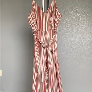 Rusted pink and white striped jumpsuit